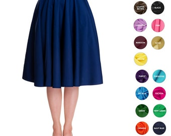 Custom Skirt Circle Skirt Midi Skirt Mini Skirt Custom Length with Pockets Swing Skirt Pinup Skirt Party Skirt Plus Size Bridesmaid Skirt
