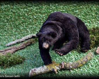 American black bear Handmade Animal soft sculpture OOAK, stuffed bear, realistic bear, Animal sculpture, Textile Taxidermy, art doll bear