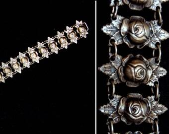 "Vintage silver ankle bracelet-Rare old Rubens silver-Old Mexico silver anklet-Vintage mexican roses flower sterling 9 7/8""-Superb  jewelry"