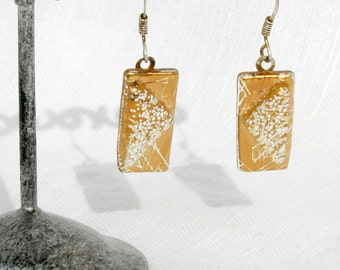 Loop earrings, glass fusing golden rectangle and triangle of white weight, 925 Silver earrings