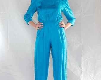 SALE  Vintage 70's Turquoise Silk Studio 54 Jumpsuit /Silk Snake Skin Jumpsuit Maggy London by Jeannene Booher / Petite Jumpsuit sz Small