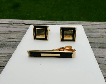 SALE Vintage Speidel cuff links & tie clip set