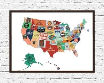 Beer Art Etsy - Us beer map red robin