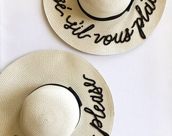 Custom Lettering Straw Sun Beach Hat - Champagne Please I miss my dog