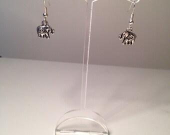 Cute Elephant Dangle Earrings Pierced Ears