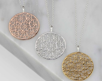 Filigree Disc Pendant in Solid Silver, Rose Gold Vermeil or Gold Vermeil