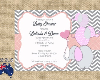 Printable Baby Shower Invitation Pink Elephants