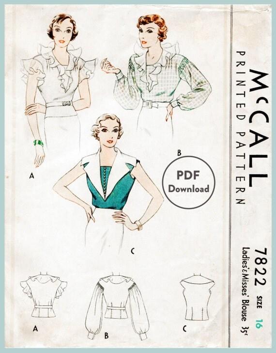 patrón de costura Vintage 30 años de la década de 1930 falta blusa ...