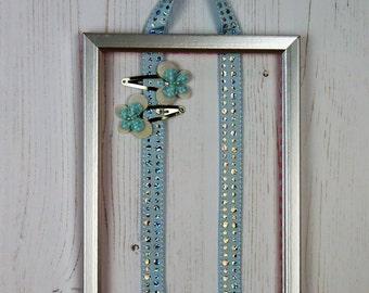 Hair bow holder, barrette holder, hair clip holder, hair bow tidy, hair clip tidy, blue sparkle ribbon, silver frame