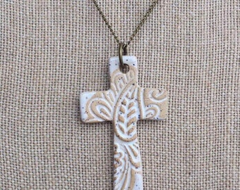 Cross Necklace, Clay Cross Pendant, Ceramic Cross Necklace, White Cross Necklace, Gifts for Women, Christian Gifts, Gifts under 30