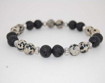 Lava Stone Bracelet,Dalmatian Stone,8mm Beads,Volcano Lava Stone Bracelet,Man,Woman,Health,Relieve,Yoga,Stretch,Protection,Meditation