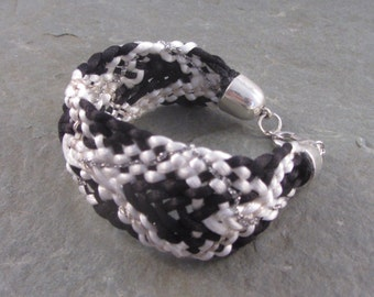 Braided bracelet,black and white cuff, woven chunky fabric  bracelet,patterned boho wristband, hippy style, valentines gift for partner