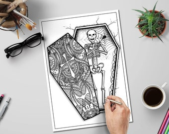 halloween skeleton in coffin adult coloring page diy relaxing coloring book page spooky printables - Trippy Coloring Book