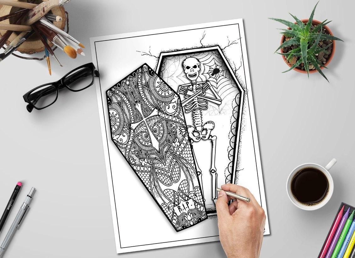 Halloween Skeleton In Coffin Adult Coloring Page Diy