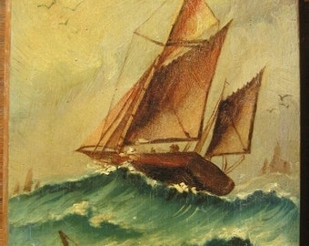Antique Oil Painting, Seascape, Sail Boats in Sea Storm, Fishing Boats High Sea, Woodboard