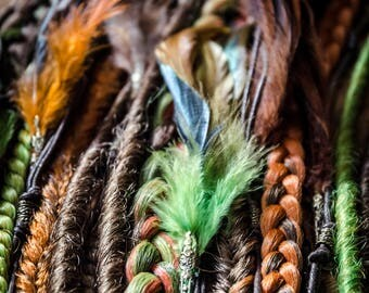 Green, brown and foxy dreadfall, 15 pieces plus feathers, 26 inches