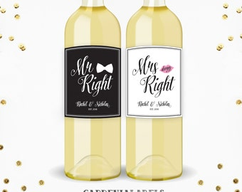 Mr. Right & Mrs. Always Right Wedding Labels, Unique Engagement Gift, Bridal Shower Gift, Mr and Mrs Champagne Label, Wedding Wine Labels