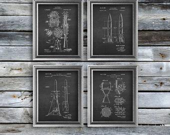 Outer space nursery decor set of 4 unframed rocket art - rocket wall art - rocket decor - rocket blueprint  - NASA decor - rocket gifts