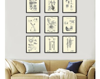 Dentist Office Decor set of 9 Dental Patent art prints, Dental hygienist gift, dental assistant gift, dentist gift, dentistry art dental art