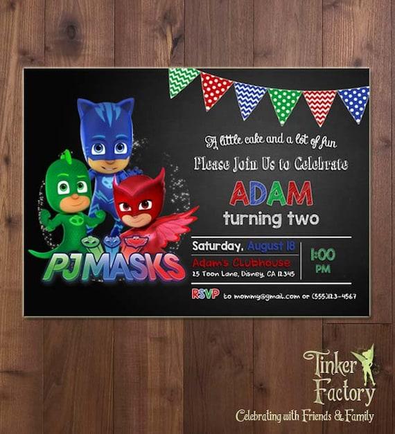 PJ Masks Birthday Party Invitation Digital File Printable
