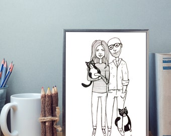 customized family portrait, illustration, commissioned portrait, wall decoration, family gift, drawing, illustration, pets portrait