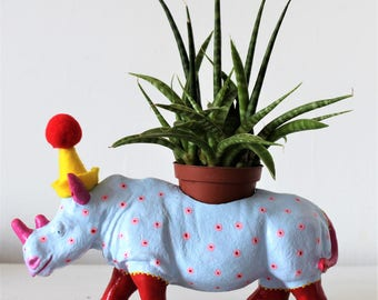 Hand painted rhinoceros planter, desk tidy.
