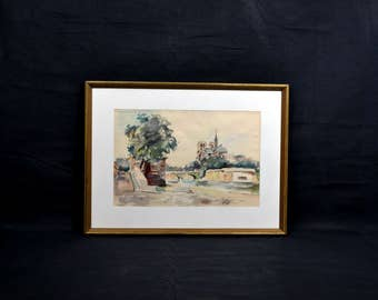 Mid Century Modern Watercolor Painting of a European Canal City Scene Signed and Dated 1964