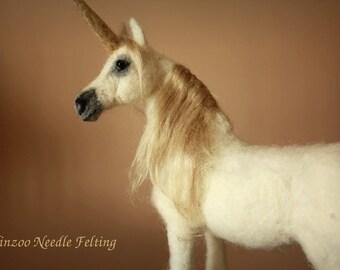 Needle felting horse, felted unicorn, arabian horse decor, equine decor, fairy tales