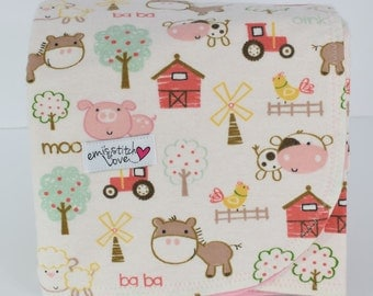 Receiving Blanket- Pink Barn Animals