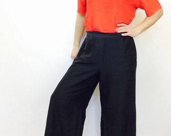 Vintage palazzo pant vintage silk palazzo pants vintage wide leg pants black silk pants vintage high waisted pants large palazzo silk pant L