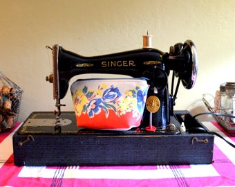 Vintage Singer Sewing Machine, 1937 Singer 15-90, Cleaned, Oiled and Tested, Includes Ruffler, Binder, Etc, Gorgeous!