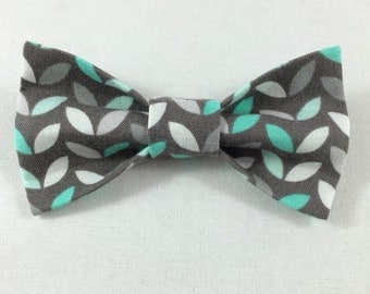 Gray and Teal Cat Bow tie, Cat tie, Cat Bow tie collar