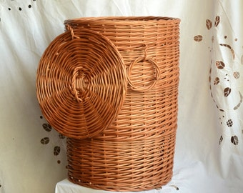 Storage basket with lidwicker laundry basket handmade willow - Round wicker hamper with lid ...