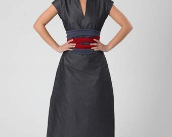 Grey Linen Caftan Dress, V Neck Dress, Chinese Collar Dress, Women's Boho Midi Dress, Summer Women Dress, Cotton Dress, Bohemian Linen Dress