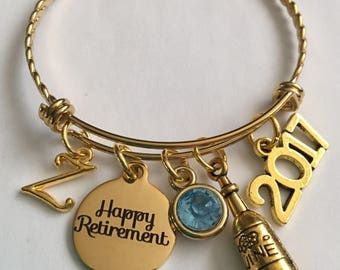 Retirement bracelet-2017 or 2018 personalized-retirement gold plated stainless steel charm bangle