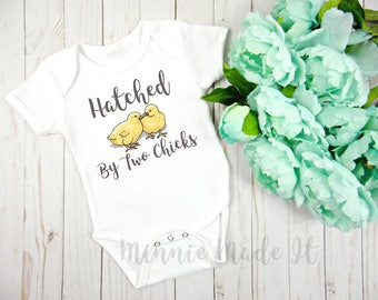 Hatched By Two Chicks Adorable Baby One piece - Lesbian Moms Two Moms Two Mommies Newborn - LGBT Gender Neutral Baby Onepiece