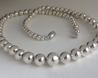 Silver Ball Necklace. Silver Beaded necklace. Ball necklace. Argentium silver necklace. Unique silver jewellery.