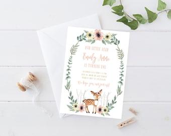 Deer Birthday Invitation Girl, Woodland, Boho Flower Printable Invite (801)