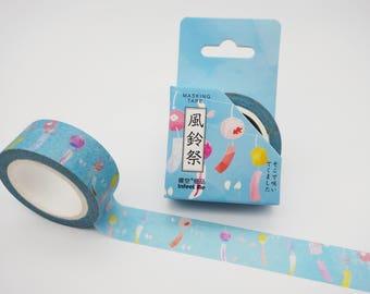 Japanese furin wind chime washi tape, spring breeze blue masking tape, cute planner tape, kawaii washi tape, Japan deco tape decorative tape