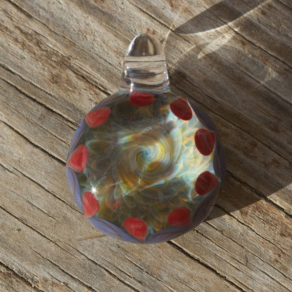 Frit Hurricane Dot Border Glass Pendant