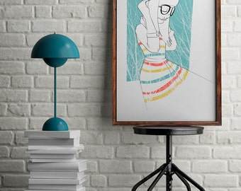 Girl with glasses drawing, fashion girl print for wall art, gift for her