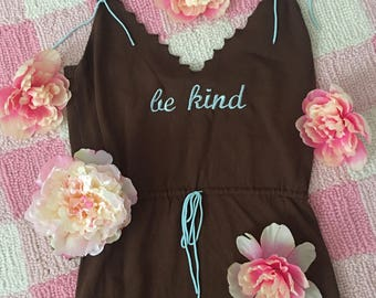 """Upcycled """"Be Kind"""" Brown Dress with Pastel Blue Text ~ Kawaii Kindness Self Care Nice Lolita Pinup Magical Girl Cosplay Goth Grunge Femme"""