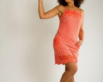 Coral dress///Pin Up///Polka Dots///Summer dress///Country chic dress///Romantic///BETTY CORAL///MIMISAN