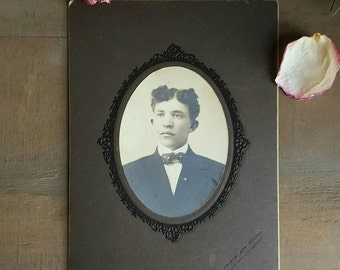 Antique Victorian Cabinet Photograph, Handsome Young Man, 1890s, by John W Dyer, Palace Art Studio, Denver, African American Photo Portrait