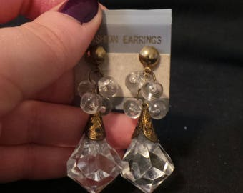 NEW Vintage Clear Crystal Beaded Droplets Dangle Earrings