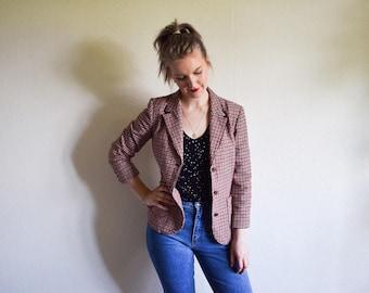 Vintage Jacket, 80s Checked Blazer Medium, Pure Virgin Wool Blazer Black White Red