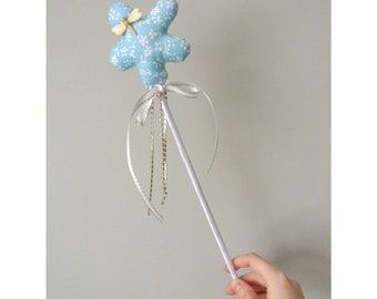 Blue Flower Childrens Princess Wand with ribbons and sparkle! Hen or Wedding Photo Prop. Blue Bridesmaid Fairy Wand. Quirky gift for girls.