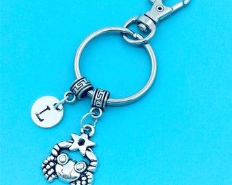 Cute  Little Crab Keychain, Lovely Crab Key Chains, Custom Any Charm, Crab Keyring, Personalized Keychain, Crab Key Rings, Charm Keychain