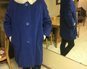 Vintage Blue Wool Coat With Gray Fur Collar