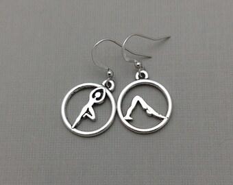 Yoga Pose Earrings, Athletic Charm, Meditation Jewelry, Yoga Earrings, Downward Dog, Vrksasana, Tree Pose
